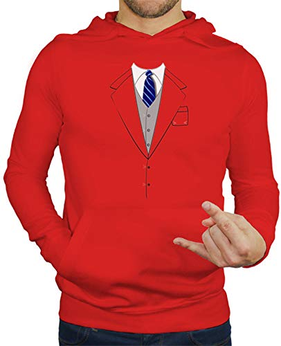 tostadora - Hoodie Anzug Krawatte Blau - Manner Rot S (Original Barney Kostüm)