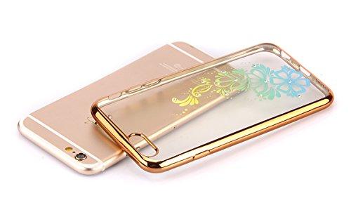 iPhone 6/6S plus 5.5 Custodia,Ukayfe Premium Transparent Dipinto Chiaro Case Cover Bumper Copertina Morbido in Silicone Gel e TPU pelle,Trasparente Ultrasottile 3D Fashion Fiore Paesaggio Case Vernici Oro fiore 1#