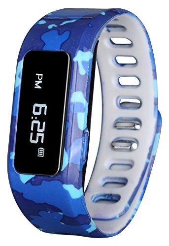 GabbaGoods Kinder Fitness Armbanduhr Activity Tracker, Kinder Smart Armbanduhr-, Wireless Tragbar Bedruckt Band Schrittzähler mit Kostenlose Mobile App - Kati Camo