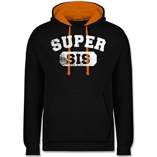 Schwester & Tante - Super Sis - Vintage-&Collegestil - Kontrast Hoodie Schwarz/Orange