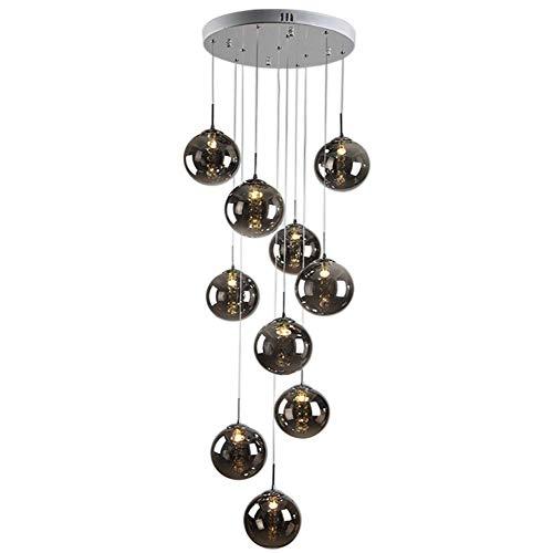 Moderne Hängelampe Kugel Glas drehbar-Treppenleuchte K9 Crystal Pendelleuchte Retro LED G14 Kristall-Lampe Esstischleuchte Höheverstellbar Pendellampe für Wohnzimmer Schlafzimmer,Amber,10lights