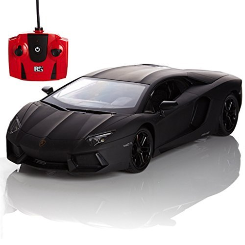 Preisvergleich Produktbild Lamborghini Aventador, Remote/Radio Controlled Model Car. 1:24 Scale. In Matt Black/White and Orange (Matt Black) by Pink Sumo