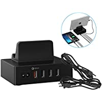 Estación de Carga Escritorio con 4 Puertos USB,34W 6.8A (un QC 2.0 y 3 Smart IC), para iPad, iPhone y los dispositivos de Android (2 Cables de US y EU),Color Negro