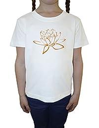 Loto Blanco Algodón Niña Niños Camiseta Manga Corta Cuello Redondo Mangas White Girls Kids T-shirt