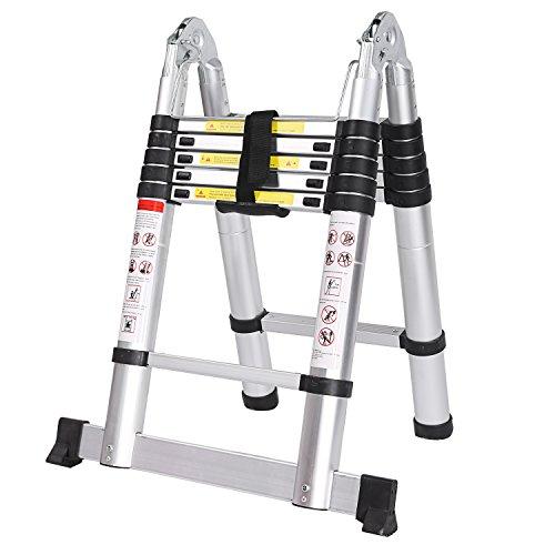 Meditool Klappleiter Anlegeleiter Teleskopleiter Mehrzweckleiter Stehleiter Ausziehbar Klappbar 150 kg aus Aluminium Teleskop-Design ( mit Rutsch-Gummi und Stahl-Sicherungsstiften ) (3.8M Klappleiter)