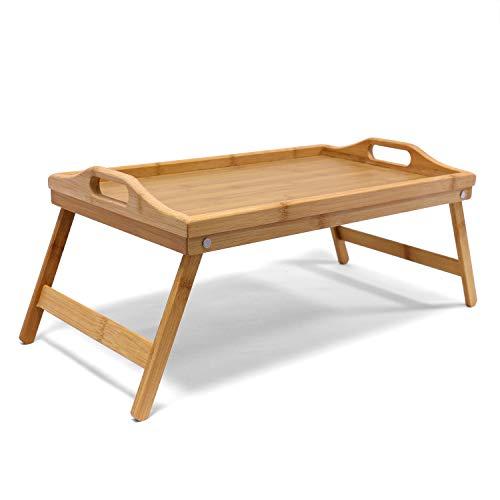 Jonas Bandeja Madera Comida Desayuno Cama – Bandeja Bambú Patas Plegables Rectangular– Ideal Para Relajarte en tu Cama o Sofá – Garantía de Calidad – Tamaño 50x30x7