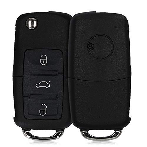 kwmobile Gehäuse für VW Skoda Seat Autoschlüssel - ohne Transponder Batterien Elektronik - Auto Schlüsselgehäuse für VW Skoda Seat 3-Tasten Autoschlüssel - Schwarz