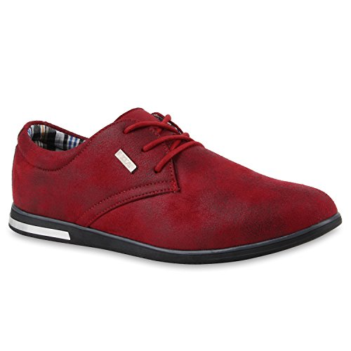 Modische Herren Business Schnürer Halb Sneakers Prints Leder-Optik Freizeit Schuhe 109436 Burgund Burgund 42 | Flandell® (Burgund Schuhe Leder)