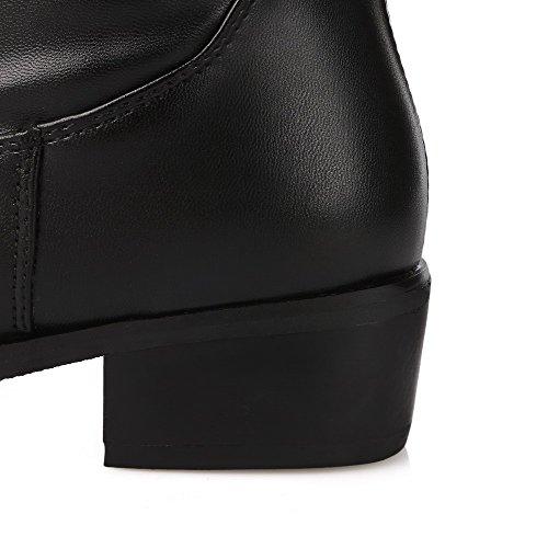 VogueZone009 Femme Zip Talon Gros Microfibre Couleur Unie Haut Élevé Bottes Noir
