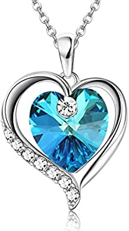 Sllaiss Sterling Silver Heart Pendant Necklace with Crystals from Swarovski for Women Dainty Jewelry Valentine