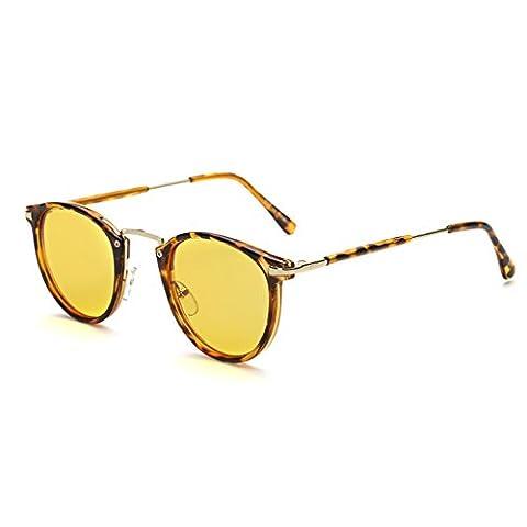 Cyxus filtre lumière bleue lunettes,classique ronde cadre [jaune lentille] anti fatigue oculaire blocage des uv, grande pour ordinateur / téléphone portable / jeu (Léopard