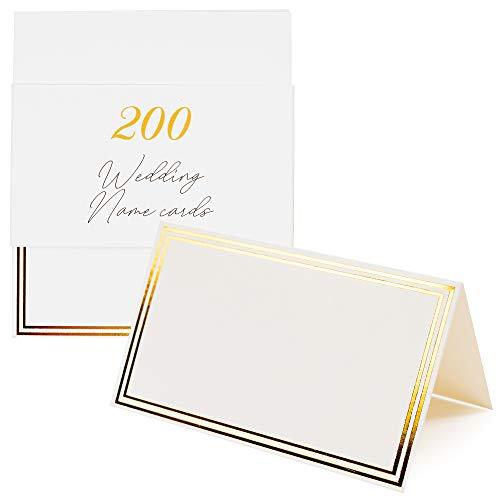 200 segnaposto bianchi per matrimonio - cartellini nome - metti le carte per i pasti per feste eleganti sulla decorazione del tavolo degli ospiti - biglietti eleganti con doppio bordo dorato