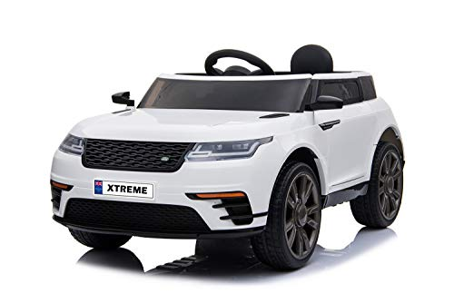 Xtreme Toys Range Rover Velar Sport Style 12V Ride on Electric Car, Black Leather Seat, Opening Doors, MP3, Remote Control (White)