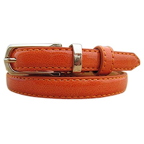 Sanwood Women Faux Leather Belt Casual Waistband Strap (Orange)