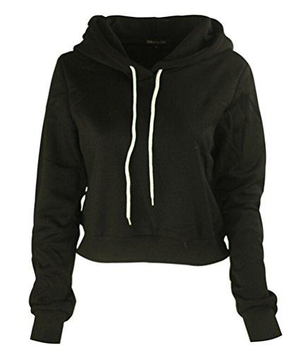 Ghope Femme Automne Hiver Col Haut Hoodie Jumper Capuche Sweats Shirt Top Manteau de Hoodie Pullover Outlet Courte Noir