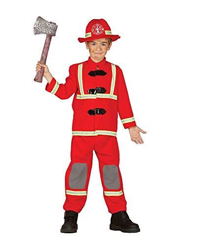 shoperama Kinder-Kostüm Feuerwehr Uniform mit Hut Jacke Hose Jungen Mädchen Feuerwehrmann Feuerwehrfrau Reflektoren Fire Rescue, Größe:7 bis 9 Jahre