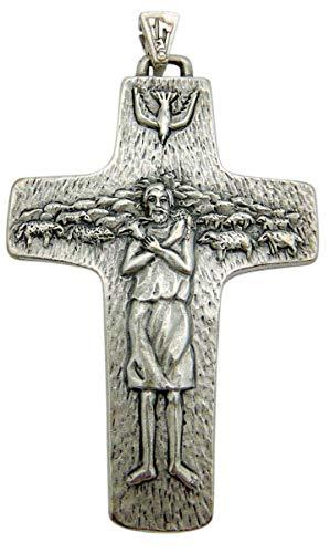 Papst Franziskus Kreuz 10,2cm Gute Shepard Kreuz Vatican City Edition Silber Tone Metall Geschenk (Armband Heiligen Katholischen Die)