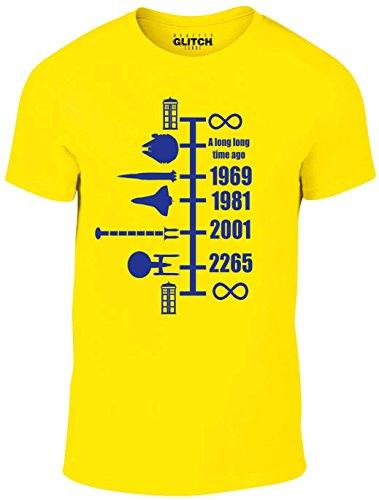 Reality Glitch Herren Spaceship Timeline T-Shirt (Gelb, Groß) (Branchen Gelben T-shirt)