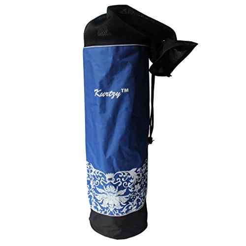 KurtzyTM Sac de Transport à Cordon en Coton Canevas Noir & Bleu pour Tapis de Yoga et Pilâtes