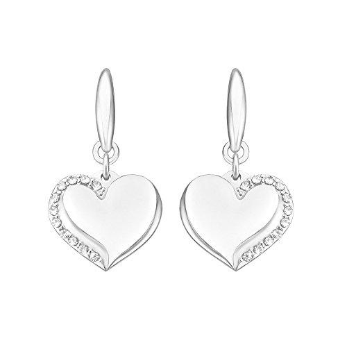 Stroili - Orecchini cuori in acciaio rodiato e cristalli per Donna - Lady Glam