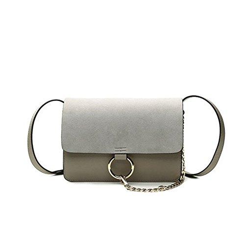 LMJ Frauen elegante PU Leder schultertasche handtasche Matt Cross Body Bag mit Metallkette (Hellgrau) (Metall-link-schulter-handtasche)