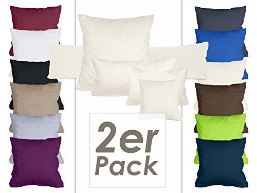 Doppelpack Kissenbezüge aus sanforisiertem Baumwoll-Jersey zum Sparpreis - in dezentem Design - 12 dekorativen Farben und 5 Größen, 40 x 145 cm, creme