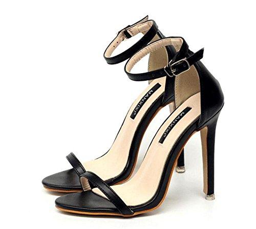SHINIK Femmes Pompes à bride à la cheville Été Nouvelle plaine Couleur solide boucle Word Talons hauts Sandales Chaussures Court Shoes Abricot Noir Black