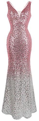 Angel-fashions Damen Pailletten V-Ausschnitt Ballon Gatsby Flapper Abendkleid (S, Rosa Silber)