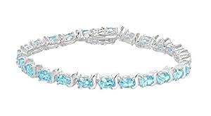 "Tuscany Silver Sterling Silver Blue Topaz Tennis Bracelet of 19cm/7.5"""