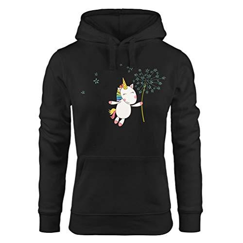 Felpe Mujer Elegante Otoño Largo Manga Sudadera Unicornio Pullover Invierno Ropa Festiva Casuales Anchos Niña Cute Sudaderas con Capucha Camisas (Color : Schwarz, Size : XL)
