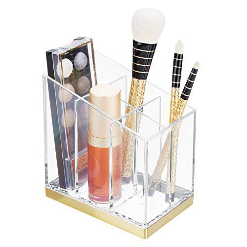 mDesign rangement maquillage pratique – boîte à maquillage déco pour vernis à ongles et fards – présentoir make up à cinq compartiments pour produits cosmétiques – transparent / couleur laiton