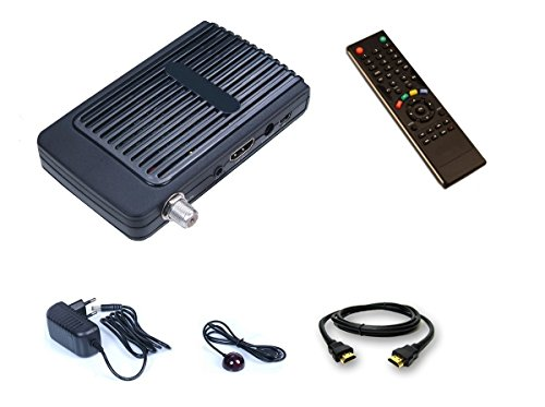 HD-LINE HD-100 Mini Satelliten-Receiver FTA HD, 220 V, 12 V, ideal fürs Camping – Compact-IR-Fernbedienung