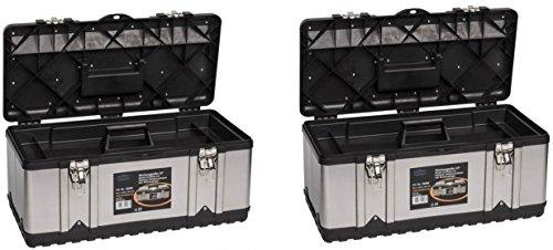 2 Stück XXL Werkzeugkoffer PROFI 23 aus Edelstahl mit robustem Kunststoff-Rahmen und...