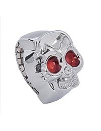 SODIAL(R) Reloj Anillo de Cuarzo Banda Elastica Diseno de Craneo de Ojos Rojo para Hombres Mujeres