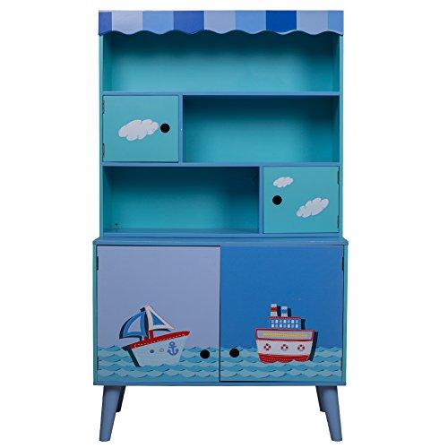 Labebe - Blaue Segelboot Kommode, geräumiges Regal für Das Kinderzimmer