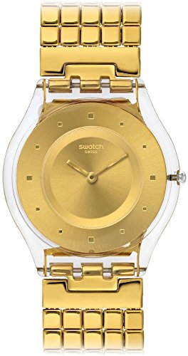 Swatch Damen Analog Quarz Uhr mit Edelstahl Armband SFK394GA