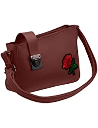 TAP FASHION Fancy Stylish Party Wear Women's Sling Bag With Rose Flower For Ladies And Girls