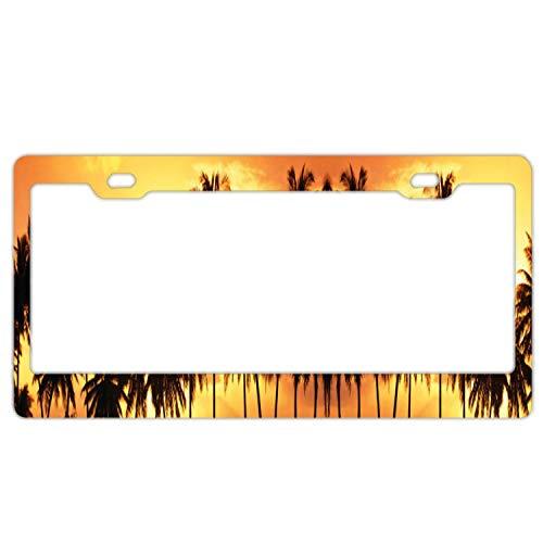 Superlicenseframe Nummernschildrahmen Kennzeichenabdeckung für Vorne und Hinten Edelstahl Metall Kennzeichenrahmen, Palm Tree Sunset
