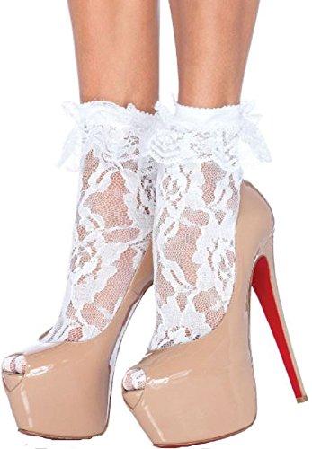 Leg Avenue Damen Paar Söckchen Socken Strümpfe mit Rüschen Spitze weiß Einheitsgröße One Size ca. 36 bis 40 (Weiße Nylon-netzstrümpfe)