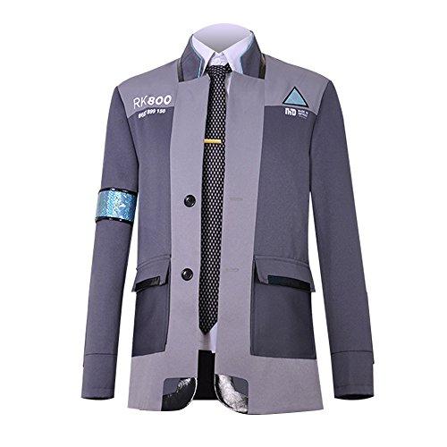 Connor Cosplay Kostüm - qingning Herren Detroit Become Cosplay Spiel Kostüme Uniform Mantel Hemd Krawatte Connor Marcus Spiel Bekleidung