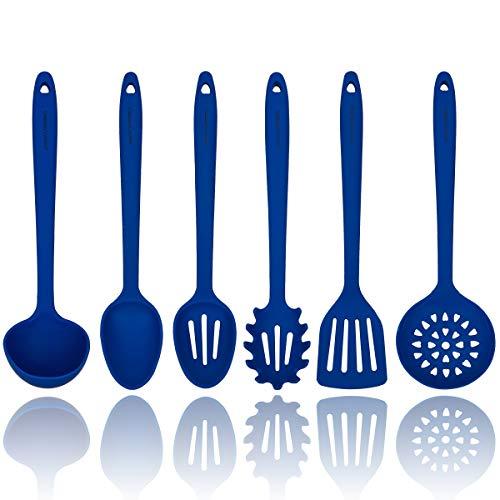 Bleu ustensiles de cuisine en silicone - Noyau intérieur en acier robuste - Spatule, cuillère, louche, service pour pâtes, écumoire et cuillère perforée - Ustensiles de cuisine résistant à la chaleur
