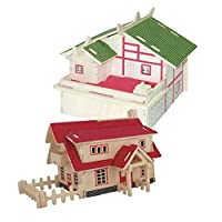 Baoblaze 2 Set 3D Puzzle Model House Miniature Assembly Home Decoration Games Smart Funny Toy