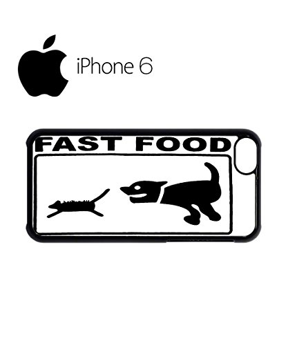 Fast Food Cat and Dog Parody Joke Swag Mobile Phone Case Back Cover for iPhone 6 Black Schwarz