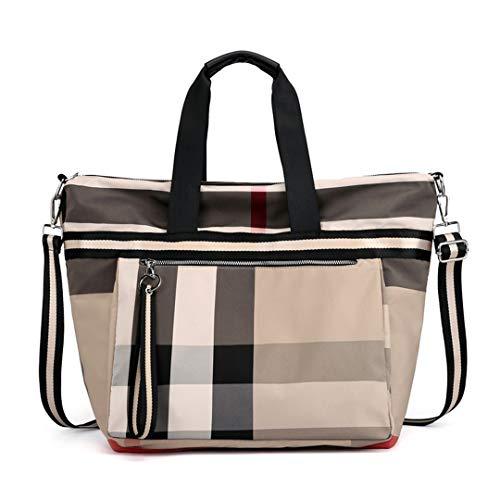 Kenneth Cole Designer-handtasche (Damen Handtaschen Plaid Handtaschen Damen Taschen Designer Taschen Nylon Khaki 34X20X38Cm)