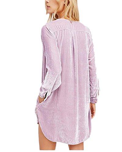Auxo Femmes Sexy Col V Long Chemise à Manches Longues Blouse Robe Lâche Tunique Long Mode Tops Violet Clair