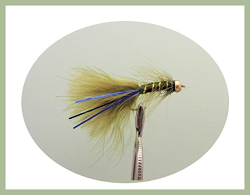 Lot de 12Goldhead Olive Bleu Flash Demoiselle Leurres Pêche mouches. Taille 10