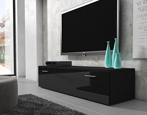 TV Möbel Lowboard Schrank Ständer Boston Korpus Schwarz/Front schwarz hochglanz 150 cm