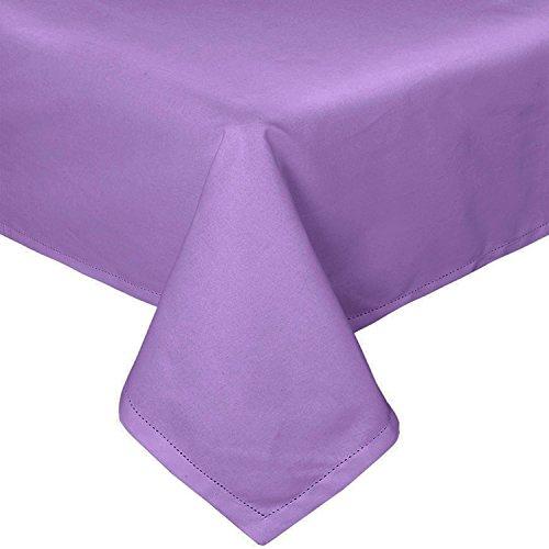 Homescapes Tischdecke lila unifarben 140 x 180 cm aus 100% reiner Baumwolle, Tischtuch waschbar