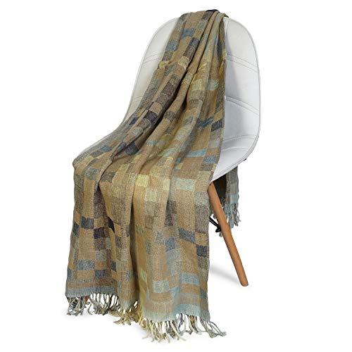 NEERU KUMAR Checks Throw Blanket Linen/Silk Soft and Stylish Luxurious 50X70 inch - Light Blue/Green (Blanket 70 X 50 Throw)