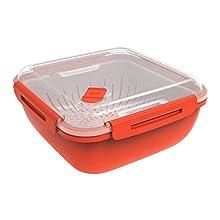 Rotho Memory Microwave Vaporetto 1.7l con inserto filtro per microonde, Plastica PP senza BPA, Rosso/Transparente, 1.7l 19.5 x 19.5 x 9.1 cm